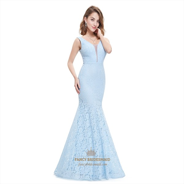 Sky Blue Lace Overlay Mermaid Plunging Sweetheart Neckline Prom Dress