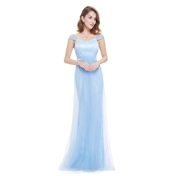 Elegant Sky Blue Lace Ruched Cap Sleeves Prom Dress With Sheer Overlay