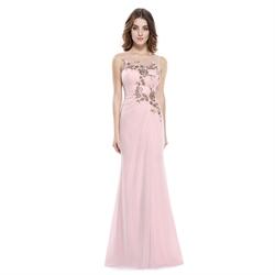 Pearl Pink Applique Chiffon Sheer Illusion Neckline Sheath Prom Dress