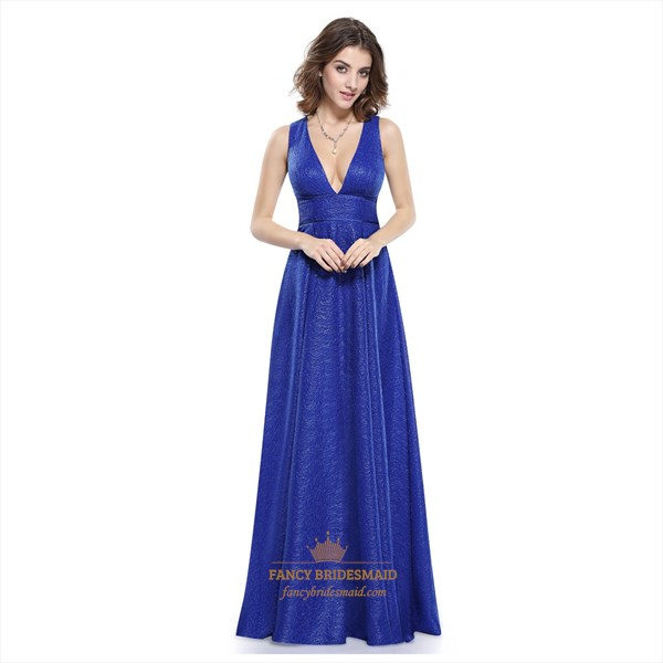 Gorgeous Royal Blue V Neck Plunge A-Line Long Sleeveless Evening Dress