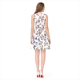 549f2c6938 White Floral Print Jacquard Sleeveless A-Line Fit   Flare Skater Dress