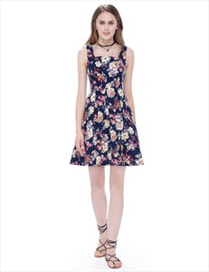 Floral Jacquard Square Neck Sleeveless Fit And Flare Skater Dress