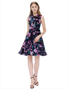 Black Garden Floral Print Sleeveless Georgette Short Summer Dress