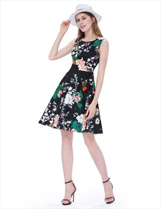 Vintage Black Scoop Neck Sleeveless Floral Print Fit And Flare Dress
