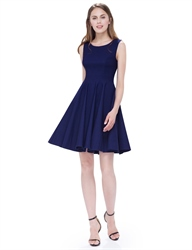 Vintage Navy Blue Scoop Neck Sleeveless Fit And Flare Cocktail Dress