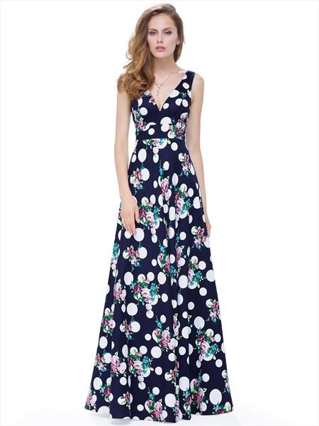 Elegant V Neck Sleeveless Print A Line Long Special Occasion Dress