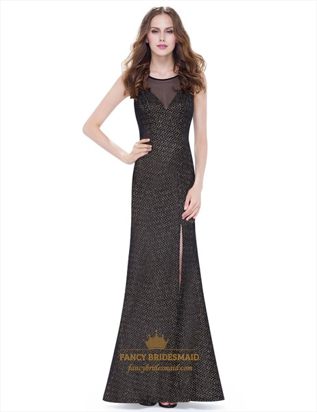 Elegant Gold Embroidered Mermaid Long Prom Dress With Side Cutouts