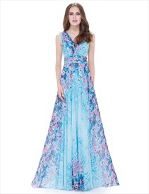 Women'S V Neck Floral Print Ruched Empire Waist Chiffon Maxi Dress