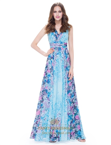 Women's V Neck Floral Print Ruched Empire Waist Chiffon ...