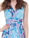 Women'S V Neck Floral Print Ruched Empire Waist Chiffon Maxi Dress