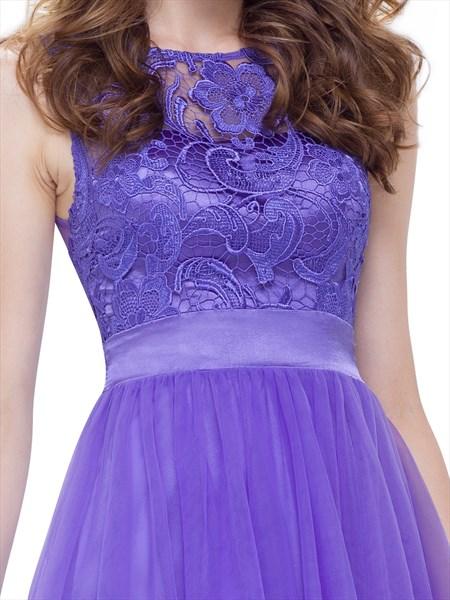 Sheer Lace Top Chiffon Skirt Embellished Waist Short Cocktail Dress