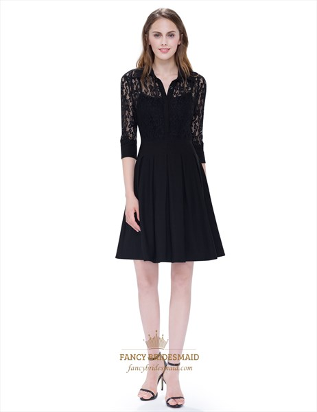 Womens V Neck Little Black Dress Knee Length With Lace Sleeves