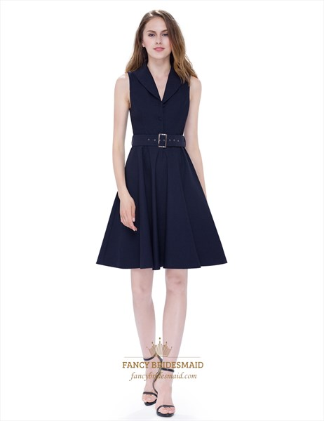 Women'S V Neck Sleeveless Skater Dress Short With Buttons And Belt
